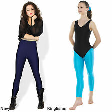 Footless Leggings Shiny Nylon Lycra Dance Ballet Gymnastics Gym Fashion Black