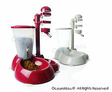 Adjustable Pole-Style Water and Food Feeder for Dogs and Cats