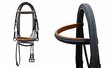 LEATHER HORSE BRIDLE FULLY BLACK/TAN PADDED WITH RUBBER REIN IN FULL, COB, PONY