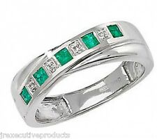 White Gold Emerald & Diamond Crossover Eternity Ring (available in sizes G - Z)