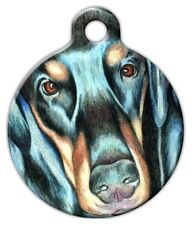 ILLUSTRATED DOBERMAN - Custom Personalized Pet ID Tag for Dog and Cat Collars