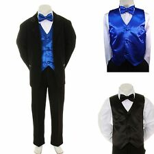 New Baby Boy Formal Wedding Party Black Suit Tuxedo + R Blue Vest Bow Tie S-4T