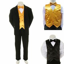 Baby Boy Formal Wedding Party Black Suit Tuxedo + Yellow Vest Bow Tie Set S-4T