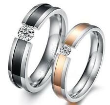 Fashion His and Her Black Rose Gold Inlaid zircon Titanium Stainless Steel Ring