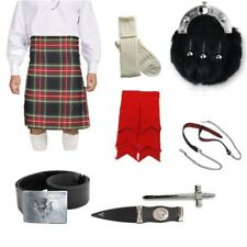 Black Stewart Full Dress 8 Yard Kilt Package Includes Sporran, Belt & Kilt Pin.