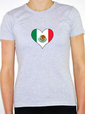MEXICO / MEXICAN FLAG IN A HEART SHAPE - North America Themed Womens T-Shirt