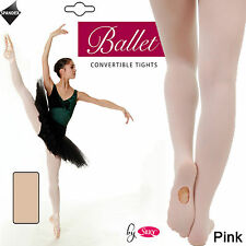 Children's Ballet Tights Pink Convertible Foot Dance -Transition Tights Silky