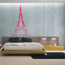 LOVE IN PARIS HEART EIFFEL TOWER wall decal quote living room stickers