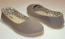 WOMENS GREY GRAY CANVAS FLATS SHOES SLIP ON FREE SHIPPING BALLET SIZE 5-10