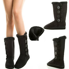 Blk Faux Fur Fuzzy Button Shearling Mid Calf Flat Snow Winter Warm Comfort Boots