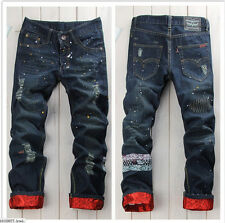 NEW Classic Men Stylish Designed Straight Slim Fit Trousers Casual Jeans Pants#6