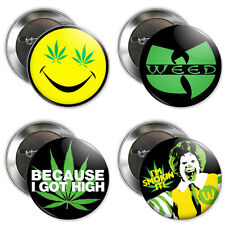 "2.25"" WEED BUTTONS badge pin because I got high marijuana legalize it pot stoner"