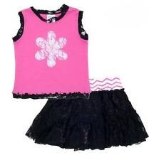Peaches 'n Cream Mallory May 2 Piece Hot Pink & Black Lace Skort and Top Set NWT