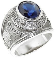 Stainless Steel Blue Sapphire CZ Marine/Military Ring Band SIZE 9,10,11,12,13