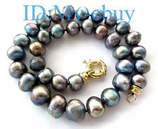 Unusual 15mm Black Blue Rainbow Baroque Freshwater Pearl Necklace 69 SOLD