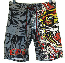 Bnwt Authentic Mens Ed Hardy Board Swim Surf Shorts Burning Tiger New Black