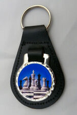 CHESS LEATHER KEY FOB Keyring Gift Choice of Colours & Design Board Games NEW