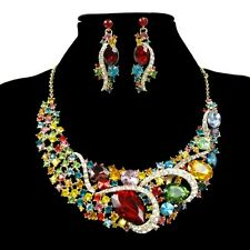 Retro Wedding Bridal Party Jewelry Crystal Rhinestone Earrings Necklace Set