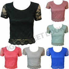 NEW LADIES FLORAL LACE DESIGN SCALLOP EDGE CROP SHORT SLEEVES MINI TOP SIZE 8-14