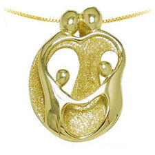 Loving Family Necklace, 14K Yellow GOLD 2 Parents & 2 Children Mother's Pendant