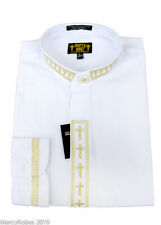 New Mens White w/Gold Cross Embroidery Neckband Clerical Clergy Shirt, Pastor