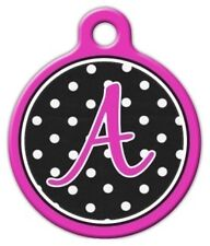 POLKA DOT MONOGRAM A -Z - Custom Personalized Pet ID Tag for Dog and Cat Collars