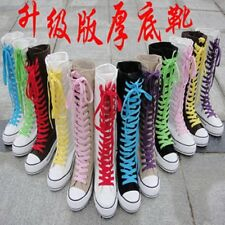 PUNK EMO Women Girl Shoes Canvas Platform Boots Zip Lace Up Knee High Sneaker