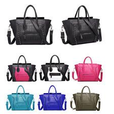 Womens Ladies Designer Leather Style Tote Smile Skull Scarf  Satchel Hand Bag