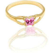 NEW 14K Yellow Gold Bfly Size 3 CZ Birthstone Butterfly Child's/Pinkie Toe Ring