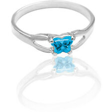NEW 14K White Gold Bfly Size 3 CZ Birthstone Butterfly Child's/Pinkie Toe Ring