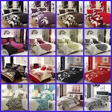 3 PC DUVET QUILT COVER SET WITH PILLOW CASES IN SINGLE DOUBLE KING SIZES 20 CLRS
