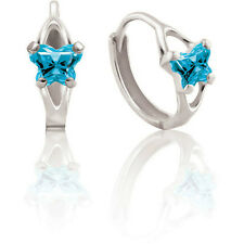 NEW 14K White Gold Bfly CZ Birthstone Butterfly Child Hinged Earrings One Pair