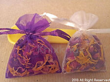Dried rose petals and marigold petals mix in small flower bags- wedding confetti