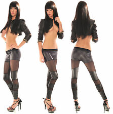 Sexy Women Black Lace Wet Look Ladies Ankle Length Leggings Size 6 8 10 12 S M L