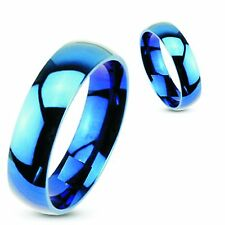 Blue Flat Personalized Ring Stainless Steel Ring engraved inside or outside