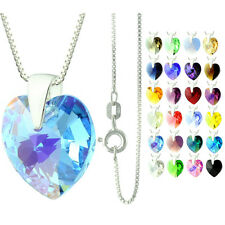 925 Sterling Silver Faceted Heart Aquamarine AB Crystal Pendant Necklace