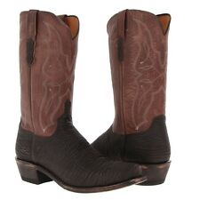 Lucchese Men's Chocolate Sanded Shark Skin Western Boots M3105.74