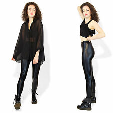 Shiny Metallic Stretchy Disco Pants Leggings Shine Black Red Gold Pink Silver
