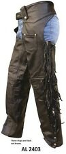 Unisex New Buffalo Leather Lined Motorcycle Biker Black Warm Chaps  AL 2403