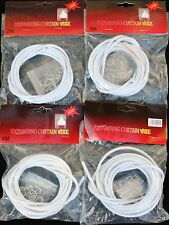 4m Expanding White Curtain Voil Net Wire with 6 Hooks & Eyes Doors Windows