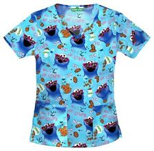 Cherokee Scrubs Nom Nom Cookie Monster V Neck Scrub Top 6846 SWNO by Tooniforms