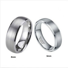 Men's Tungsten Carbide Rings Brush Center Dome Shape Titanium Color Wedding Band