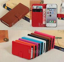New Cool Wallet Flip Genuine Leather Case Cover Stand For Apple iPhone 4 4S 4G