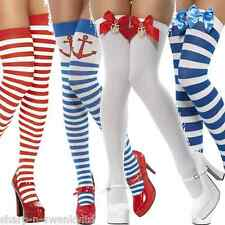 Ladies Blue White Red Anchor Nautical Sailor Striped Fancy Dress Stockings Socks
