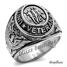 Men's Stainless Steel 316 US United States Veteran Military Ring Size 8-14