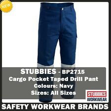 Stubbies Cargo Pocket Reflective Taped Cotton Drill Pants Workwear Navy BP2725