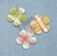 "U PICK~ 1-3/8"" Padded Plaid Checked Gingham Flower Appliques x 50 pcs #2352P"