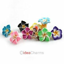 Wholesale 20x Fimo Polymer Clay 5-leaves Plumeria Flower Beads 15mm Pick Colors