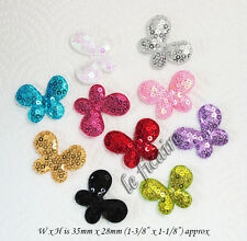 "U PICK ~ 1-3/8"" Padded Satin Sequin Butterfly Appliques Hair Bows x 60 pcs #2630"