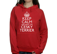 KEEP CALM AND WALK THE CESKY TERRIER UNISEX PET DOG HOODIE WOMENS GIFT TOP #219